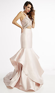 Long Pink High Neck Prom Dress with an Open Back
