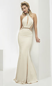 Long High Neck Sleeveless Prom Dress with Cut Outs