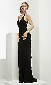 Open Back V-Neck Prom Dress with a Ruffled Train