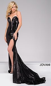 Sequin Long Jovani Prom Dress with Train