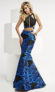 Long Print Two Piece Cut Out Prom Dress