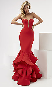 Strapless Prom Dress with a Ruffled Skirt