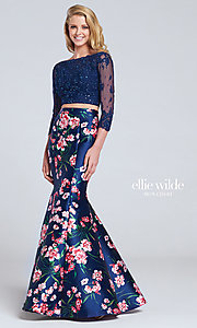 Floral Print Two-Piece Dress with Sleeves