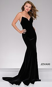 Velvet Long Strapless Jovani Formal Dress