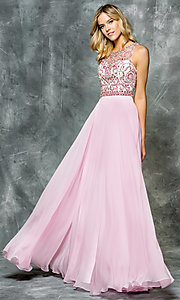 Long Sheer Back Illusion Sweetheart Prom Dress