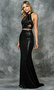 Long Metallic Racer Back Two Piece Prom Dress