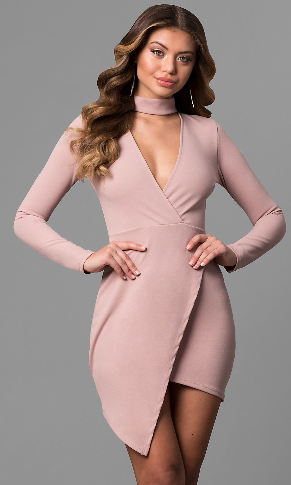 Cheap Mock-Wrap Party Dress with Sleeves - PromGirl