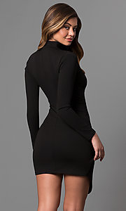 Image of long-sleeve short mock-wrap party dress with v-neck. Style: BLU-BD8383 Detail Image 2