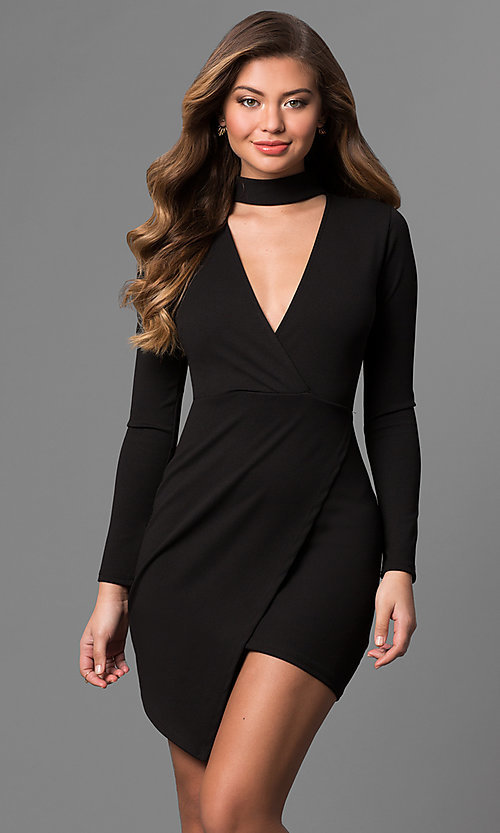Image of long-sleeve short mock-wrap party dress with v-neck. Style: BLU-BD8383 Detail Image 1