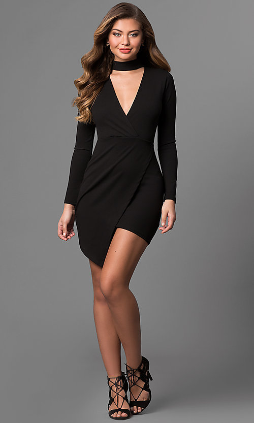 Image of long-sleeve short mock-wrap party dress with v-neck. Style: BLU-BD8383 Detail Image 3