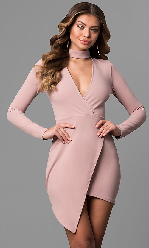 Image of long-sleeve short mock-wrap party dress with v-neck. Style: BLU-BD8383 Front Image