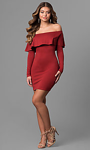 Image of short off-the-shoulder party dress with long sleeves. Style: BLU-BD8386 Detail Image 3