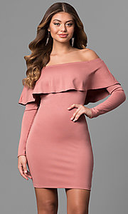 Short Off-the-Shoulder Party Dress with Long Sleeves