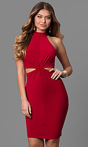 High Neck Knee-Length Knotted Waist Party Dress