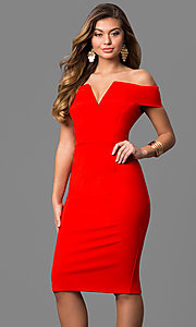 Knee-Length Notched Off-the-Shoulder Party Dress