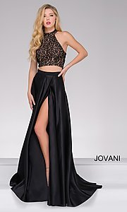Two-Piece Black & Nude Long Prom Dress
