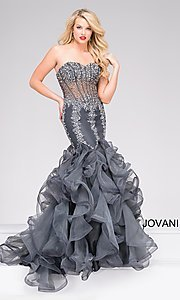 Sheer Corset Ruffled-Mermaid Jovani Dress