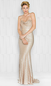 Long Cowl Neck Sequin Spaghetti Strap Prom Dress