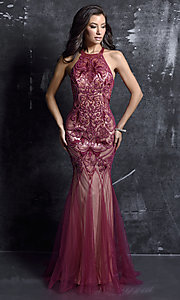 High-Neck Wine Red Beaded Mermaid Dress
