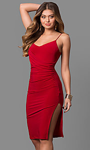 Image of short knee-length v-neck red party dress with slit. Style: MD-D15184AB Front Image