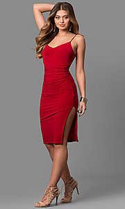 Image of short knee-length v-neck red party dress with slit. Style: MD-D15184AB Detail Image 1