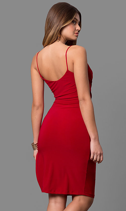 V-Neck Knee-Length Short Red Party Dress - PromGirl