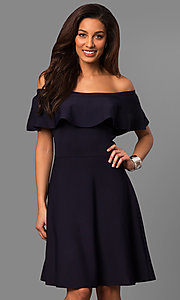 Off-the-Shoulder Ruffled Collar Short Party Dress