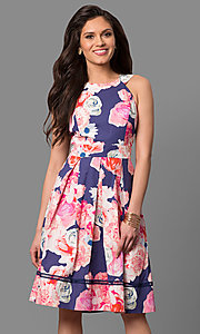 Short Knee-Length Print Party Dress