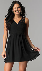 Short V-Neck A-Line Graduation Party Dress with Lace
