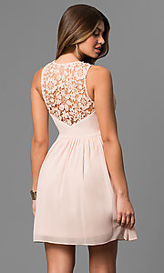 Image of short v-neck a-line graduation party dress with lace. Style: LP-24075 Back Image