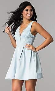Image of short lace-bodice v-neck homecoming party dress. Style: LP-24086 Front Image