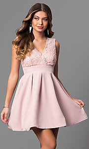 Image of short lace-bodice v-neck homecoming party dress. Style: LP-24086 Detail Image 2