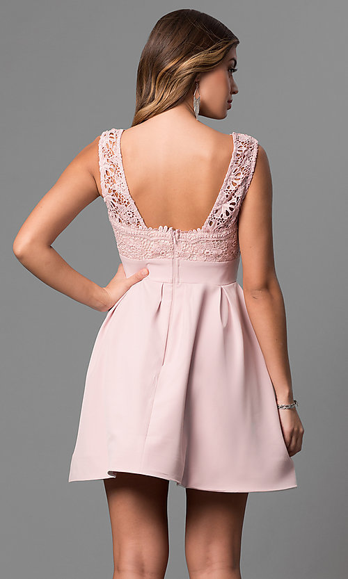 Image of short lace-bodice v-neck homecoming party dress. Style: LP-24086 Back Image