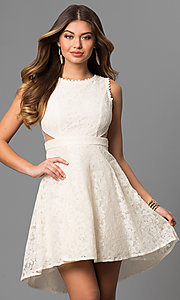Short High-Low Lace Graduation Dress