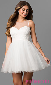 Image of short illusion sweetheart graduation party dress. Style: LP-24249 Front Image