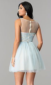 Image of short illusion sweetheart graduation party dress. Style: LP-24249 Back Image