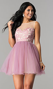 Image of short illusion sweetheart graduation party dress. Style: LP-24249 Detail Image 2