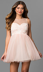 Image of short illusion sweetheart graduation party dress. Style: LP-24249 Detail Image 1