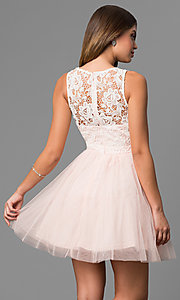 Image of lace-bodice a-line short graduation party dress. Style: LP-24402 Back Image