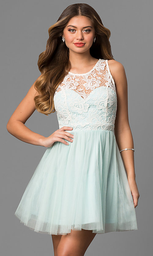Image of lace-bodice a-line short graduation party dress. Style: LP-24402 Front Image