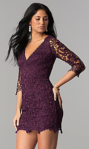 Short Lace V-Neck Graduation Dress with 3/4 Sleeves