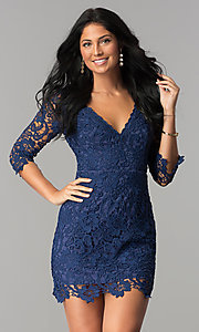 Image of short v-neck graduation dress with 3/4 sleeves. Style: LP-27048 Detail Image 1