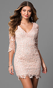Image of short v-neck graduation dress with 3/4 sleeves. Style: LP-27048 Detail Image 2