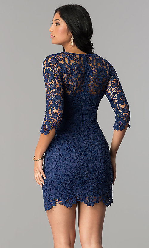 Image of short v-neck homecoming dress with 3/4 sleeves. Style: LP-27048 Detail Image 6