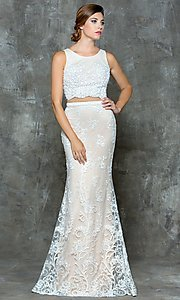 Lace Open Back Two Piece Prom Dress