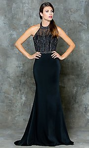 Long Empire Waist Halter Open Back Prom Dress