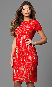 Bright Red High-Neck Short Lace Party Dress