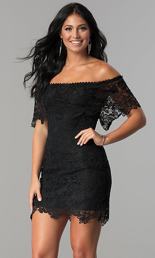 Image of short off-the-shoulder lace party dress. Style: JTM-JMD7605 Front Image