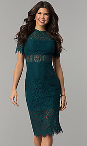 Image of short lace wedding-guest dress with short sleeves. Style: JTM-JML6912 Detail Image 3