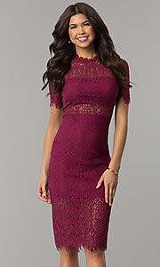 Short Lace Wedding-Guest Dress with Short Sleeves